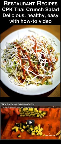 RECIPES..... CPK's THAI CRUNCH SALAD - Quick and easy w how-to video. This recipe combines shredded Napa cabbage, chilled-grilled chicken breast, julienne cucumbers, edamame, crispy wontons, rice sticks, peanuts, cilantro, julienne carrots, red cabbage and green onions tossed with lime-cilantro and authentic Thai peanut dressings. The blend of items in the salad is a delicious combination, but the peanut dressing combined with the lime dressing is what makes the salad. Best one I ever had.