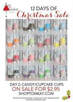 ONE DAY SALE - 12/4 :: Polka Dot + Striped Candy/Baking Cups $2.95 shoptomkat.com
