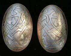Viking Turtle Brooch with Norse Entwined Beasts Etched and Domed in Nickel