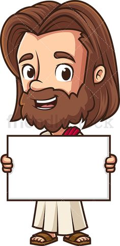 Jesus Holding Blank Sign: Royalty-free stock vector illustration of Jesus Christ holding an empty billboard sign and smiling. Jesus Art, Jesus Christ, Free Vector Clipart, Blank Sign, Vector Illustrations, Billboard, Empty, Chibi, Hold On