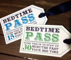 Bedtime Pass  Digital Download by imaginationpad on Etsy, $10.00 (bed time pass makes a great stocking stuffer for kids!)