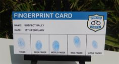 Police Party Printable Fingerprint Card