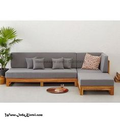 L shape Patio Set SS This Patio wooden sofa L-Shape is made from premium grade Indonesian teak wood. This sofa is suitable for outdoor and indoor . Corner Sofa Design, Living Room Sofa Design, Home Room Design, Home Decor Furniture, Sofa Furniture, Pallet Furniture, Furniture Design, Furniture Online, Furniture Stores
