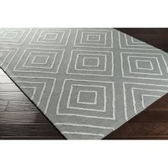 Leona Hand-Hooked Teal/Pale Blue Area Rug  12x15