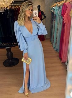Long Royal Blue Dress To Look Adorable - Pretty Quinceanera Dresses, Pretty Dresses, Blue Dresses, Prom Dresses, Summer Dresses, Formal Dresses, Vestidos Azul Serenity, Blazer Outfits Casual, Occasion Dresses