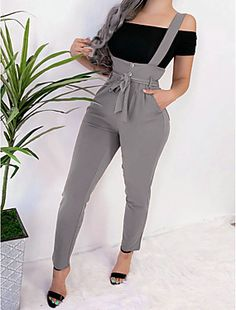 Solid High Wasit Casual Suspender Jumpsuit Women's Online Shopping Offering Huge Discounts on Dresses, Lingerie , Jumpsuits , Swimwear, Tops and More. Trend Fashion, Autumn Fashion, Fashion Outfits, Fashion Design, Fashion Women, Moda Fashion, Latest Fashion, Style Salopette, Suspender Pants