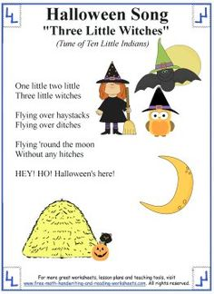 Halloween Songs for Kids - Printable Lyrics with Coloring Activities
