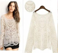 Wholesale Ladies Blouses - Buy Fashion New 2013 Plus Size Women2013 Spring New Openwork Crochet Loose Solid Color Long Sleeve Pullover Blouse Lace Blouse 6868, $12.27 | DHgate