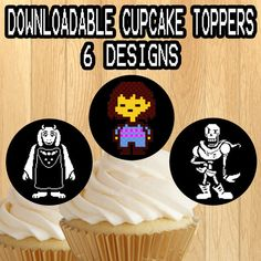 PRINTABLE Undertale Cupcake Toppers / picks by PogoParties on Etsy