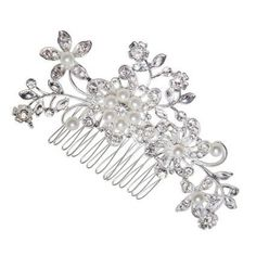 Wedding Leafs Pearl Jewelry Crystal Rhinestone Bride Pearl Hair Comb Pin Silver Flower Vine >>> Check this awesome product by going to the link at the image.(This is an Amazon affiliate link)