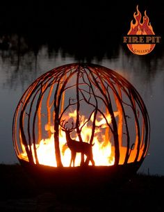 """Winter Woods. 37"""" Custom Steel fire pit. The Winter Woods peaceful birch tree fire pit sphere seems to draw you in, as though you are standing in a quiet forest sanctuary. Design Your Own with the White Tailed Deer option (Buck). Designed by Artist Melissa Crisp of The Fire Pit Gallery.:"""