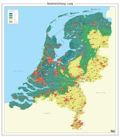 Hoog en laag kaart van Nederland  - High and low grounds in the Netherlands...