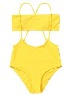 957a99b6e9 Strapless Top and High Rise Cami Swim Bottoms Swimwear – Lilacoo