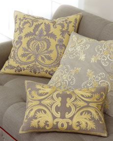 Acanthus embroidered pillow collection