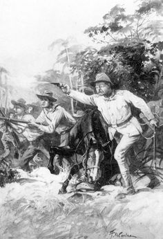 A black and white photo of a painting done in 1898 of Theodore Roosevelt fighting with the Rough Riders in the Spanish American War.