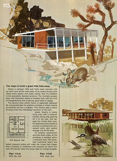 Great Ideas for Second Homes: A Portfolio of 20 Distinguished New Designs in Plywood, published by the American Plywood Association in 1969. The fantastic illustrative paintings were done by Lorenzo Ghiglieri | Plan 113