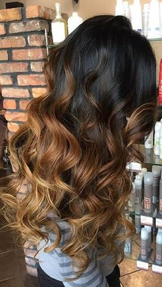 Caramel Brown Balayage Highlights on Dark Hair