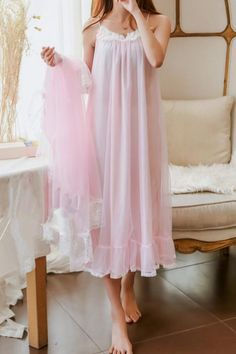"""Material: made of polyester and lace Colors: White/Pink/Blue Size reference: Size Condole belt is long Shoulder Bust Sleeve length Long coat One Size """" """" """" """" """" Pretty Lingerie, Vintage Lingerie, Beautiful Lingerie, Lace Lingerie, Jolie Lingerie, Luxury Lingerie, Satin Dresses, Gowns, Night Gown Dress"""