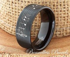 Music Wedding Band Favorite Song Personalized Tungsten Ring Any Music Sheet Laser Engraved Ring Band His Hers Customized Music Ring New Band