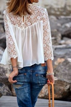 White Contrast Lace Long Sleeve Loose Blouse -SheIn(Sheinside)