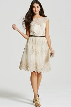 Little Mistress Beige & Gold Embroidery Prom Dress - Little Mistress from Little Mistress UK £78