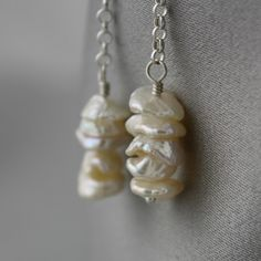 Pearly Disk Earrings White/Ivory Keshi Pearls and by jacjewelry
