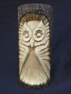 Wooden Owl Hand Carved in a Basswood Log, Folk Art Owl, Rustic Woodland Owl…