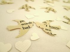 Book Page Bird Confetti & White Mini Heart Confetti