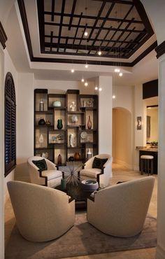 Unique Ceiling Design | Unique ceiling. Love the dark wood | great chairs | shelves www.sunshinecoastinteriordesign.com.au