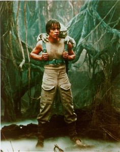 Mark Hamill on the Dagobah System set