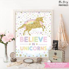 Believe in Unicorns Nursery Room Decor. Rainbow Pink Gold