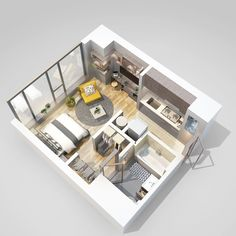 rendered floor plan for a brand new luxury apartment in Downtown Los Angeles. Sims 4 House Plans, Small House Plans, House Floor Plans, Studio Apartment Floor Plans, Apartment Plans, Studio Apartment Layout, Small Apartment Interior, Small Apartment Design, Sims 4 House Design