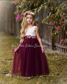 Plum Flower Girl Dresses, Flower Girl Shirts, Boho Flower Girl, Lace Flower Girls, Little Girl Dresses, Girls Dresses, Flower Hair, Dress Stand, Bridesmaid Dresses