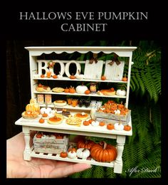 Reserved for Lisa R - Luxury Halloween Pumpkin Display Cabinet - Artisan fully Handmade Miniature in 12th scale. From After Dark miniatures....