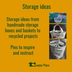 Storage ideas-from handmade storage boxes and baskets to recycled projects  Pins to inspire and instruct