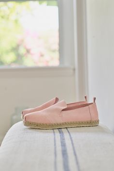 Pale Pink Suede Women's Deconstructed Alpargata Espadrilles. A casual and comfortable way to work pink into your outfit of the day.