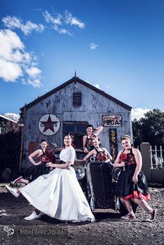 These bridesmaids had such fun at the rockabilly wedding. The skull detail on the dresses was very unique and super trendy. loved the converse shoes! Rockabilly Wedding, Rockabilly Style, Rockabilly Fashion, Tree Wedding, Our Wedding, Fern, Converse Shoes, Bridesmaids, Skull