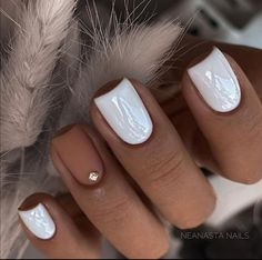 Simple Acrylic Nails, Fall Acrylic Nails, Acrylic Nail Designs, Shellac Nail Designs, Beach Nail Designs, Square Acrylic Nails, Short Nail Designs, Simple Nail Designs, Nail Manicure