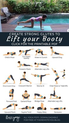 Strengthening your glutes is not only important for a lifted booty, but it also protects your pelvis and hips. Use this printable yoga PDF to get a fun booty workout. #bootyworkout #strongglutes #yogapdf #yogasequence Yoga Fitness, Workout Fitness, Hata Yoga, Yoga Kunst, Relaxing Yoga, Yoga For Relaxation, Butt Workout, Full Body Yoga Workout, Beginner Yoga Workout