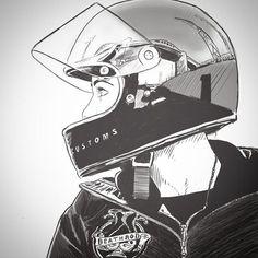 Badass Motorcycle Art by starvin_artist 28 - Chica motorista - Badass Motorcycle Helmets, Futuristic Motorcycle, Motorcycle Design, Motorcycle Style, Helmet Drawing, Bike Drawing, Bike Sketch, Arte Cyberpunk, Lady Biker