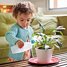 What child wouldn't want to water the plants? Great way to build concentration and care for nature!