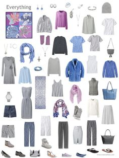 grey capsule wardrobe with accents of blue and orchid