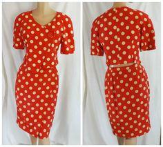 Vtg 1980'S Red Cream #POLKADOT Silk SUIT Med Sarong Skirt Top Pin-Up #Wiggledress  #NiponPettites