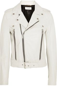 Saint Laurent - Leather Biker Jacket - White - FR42