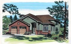 House Plan 24265 | Contemporary European Traditional Plan with 2672 Sq. Ft., 4 Bedrooms, 3 Bathrooms, 2 Car Garage