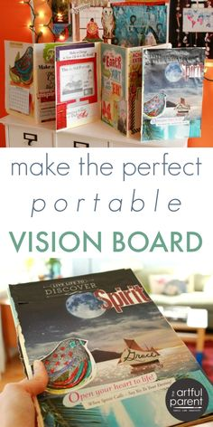 Creating a Vision Board Book for Your Goals and Dreams that is Portable How I created a portable vision board in a DIY accordion book format for taking with me or displaying (it stands up on its own). The perfect vision board!