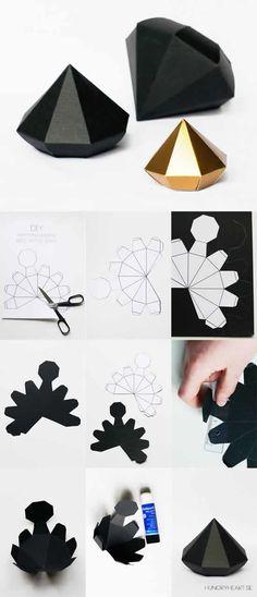 Moldes Fáceis para Caixinhas de Papel | Como fazer em casa Paper Diamond, Crafts To Make And Sell, Decor Crafts, Diy Crafts, Diy Home Decor, 3d Paper, Paper Crafts, Alt, Diy Tutorial