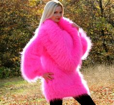 Neon Pink Hand Knitted Mohair Sweater Fuzzy Cowlneck Dress by Supertanya s M L | eBay