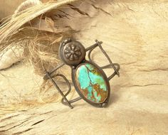 Wide Arizona Turquoise Copper Cuff by annamei on Etsy