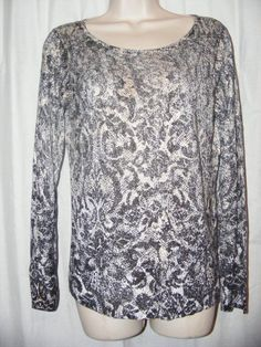 Chico's Black Gold Ivory 100% Rayon Scoop Neck Knit Long Sleeve Top 0 S #Chicos #KnitTop #Casual